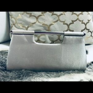 Holiday clutch Purse by Metaphor Silver w/strap